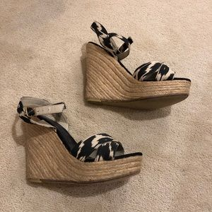 Ikat ankle strap wedges